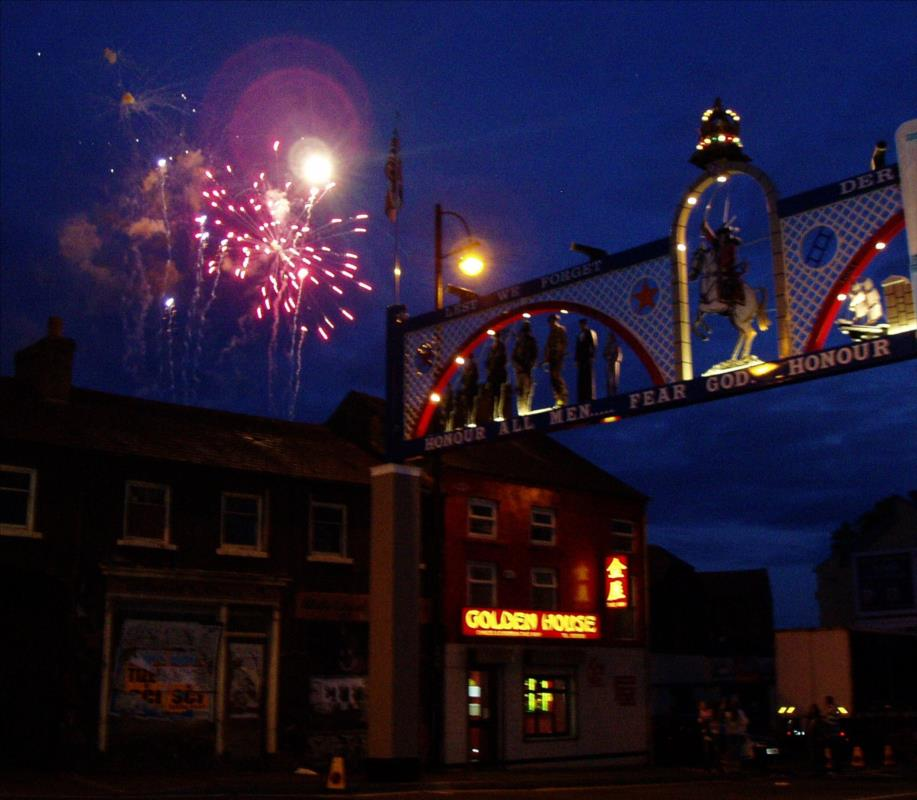 Fireworks Celebrate the Opening of Edenderry Arch